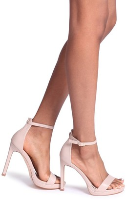 Barely There Linzi Gabriella Nude Nappa Stiletto Heel With Slight Platform