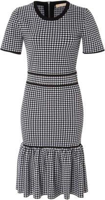 Michael Kors Ruffled Gingham Stretch-Knit Dress