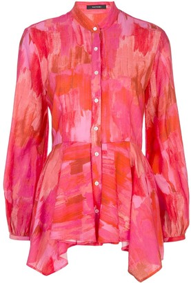 Natori Abstract Print Peplum Shirt