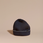 Burberry Ribbed Cashmere Beanie With Border Detail, Blue