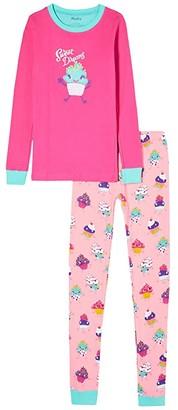 Hatley Dancing Cupcakes Applique PJ Set (Toddler/Little Kids/Big Kids) (Pink) Girl's Pajama Sets