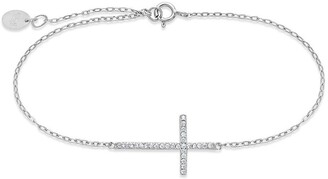 Sterling Forever Sterling Silver Sideways Pave CZ Cross Bracelet
