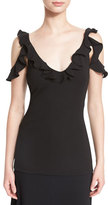 Cushnie et Ochs Ruffled Draped-Shoulder Top, Black