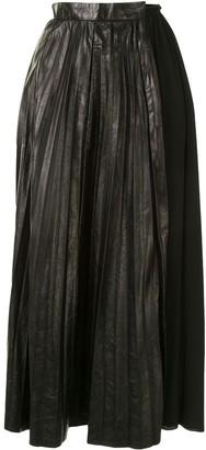 No.21 Pleated Leather Midi Skirt