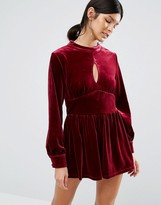 Love & Other Things Velvet Long Sleeve Romper With Keyhole