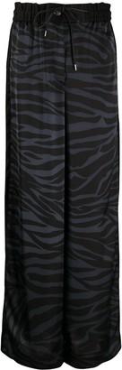 Sacai Zebra-Print Satin Palazzo Trousers