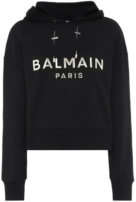 Balmain Cropped logo cotton hoodie