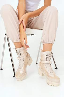 I SAW IT FIRST Nude Biker Style Ankle Boots