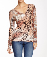 Sisters Multicolor Animal V-Neck Long-Sleeve Top