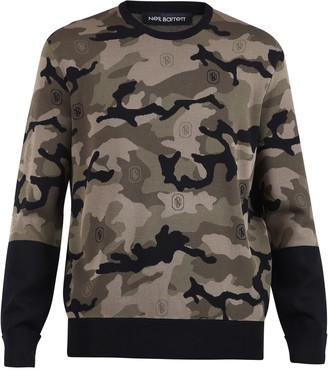 Neil Barrett Camouflage Pattern Knit Jumper