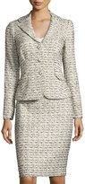 Kay Unger New York Tweed Jacket & Skirt Suit Set, Beige