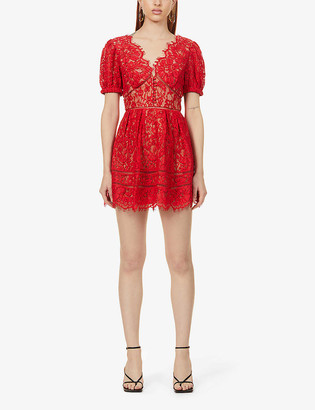 Self-Portrait Puff-sleeved scalloped-trim lace mini dress