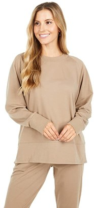 Eileen Fisher Organic Cotton Stretch Jersey Round Neck Top (Driftwood) Women's Clothing