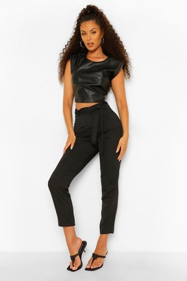 boohoo Tie Waist Woven Satin Slim Fit Trousers