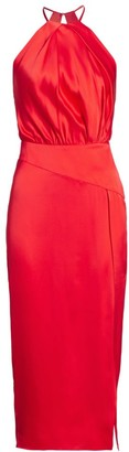 Mason by Michelle Mason Pleated Halter Silk Dress