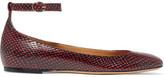 Etoile Isabel Marant Isabel Marant - étoile Lili Python-effect Leather Ballet Flats - Red