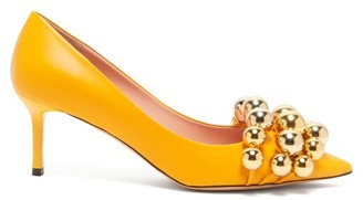 Rochas Beaded Point-toe Leather Pumps - Womens - Yellow Gold