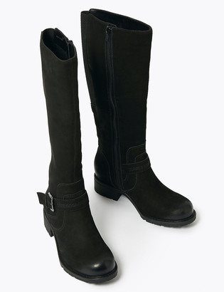 Marks and Spencer Wide Fit Suede Buckle Knee High Boots