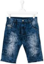 Diesel printed denim shorts - kids - Cotton/Polyester/Spandex/Elastane - 14 yrs