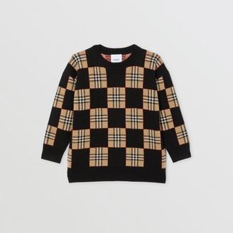 Burberry Childrens Chequer Merino Wool Jacquard Sweater