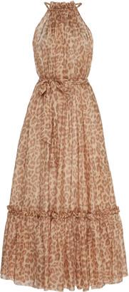 Zimmermann Kirra Leopard-Print Silk-Chiffon Midi Dress