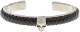 Alexander McQueen Woven-leather and metal skull cuff