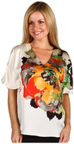 Kenneth Cole New York Petite Placed Peony Print Cold Shoulder Woven Blouse