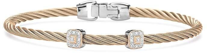 Alor Carnation Cable Bangle Bracelet With Diamonds