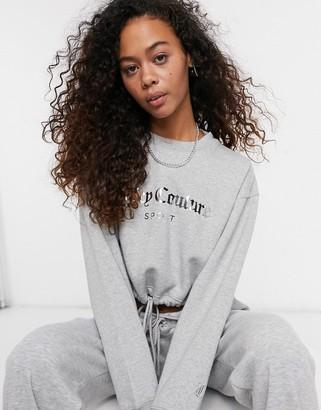 Juicy Couture co-ord crop logo sweatshirt in grey