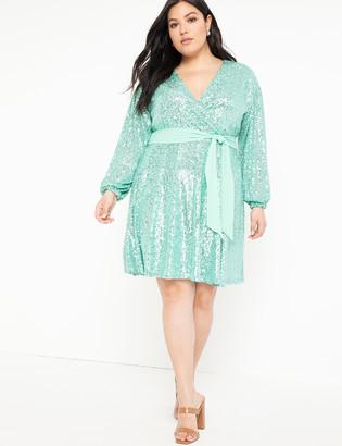ELOQUII Belted Sequin Wrap Dress