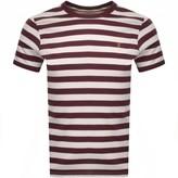 Farah Belgrove Stripe T Shirt Burgundy
