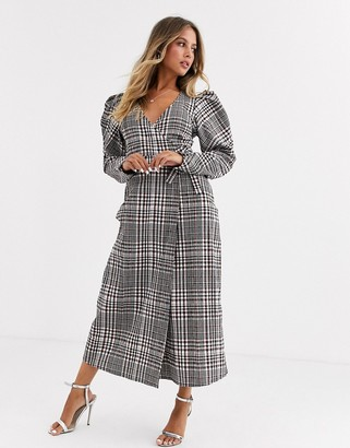 ASOS DESIGN wrap maxi dress with puff sleeves in check