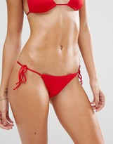 L'Agent by Agent Provocateur Red Tie Side Bikini Bottom