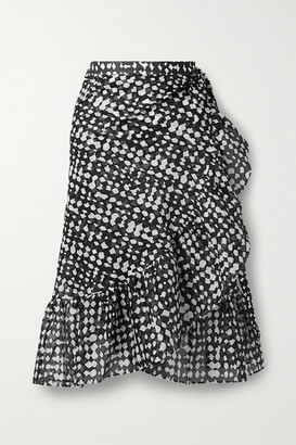 Eres Gazelle Ruffled Printed Cotton-voile Wrap Skirt - Charcoal