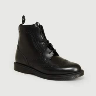 Dr. Martens Black Polished Smooth Leather Delphine Ankle Boots - leather | black | 36 - Black/Black