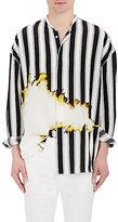 Haider Ackermann Men's Striped Stain-Print Silk Oversized Shirt