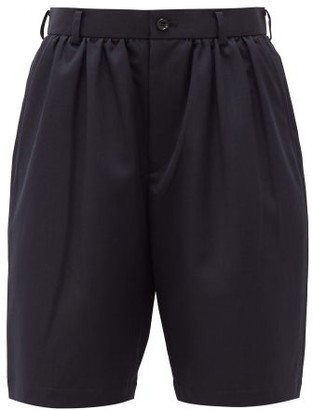 Comme des Garcons High-rise Gathered Crepe Shorts - Womens - Navy