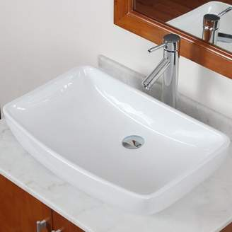 Elite Grade A Ceramic Rectangular Vessel Bathroom Sink Drain Finish: Chrome
