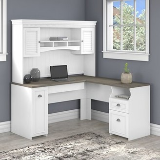 Three Posts Niles L-Shape Executive Desk with Hutch Color: Pure White