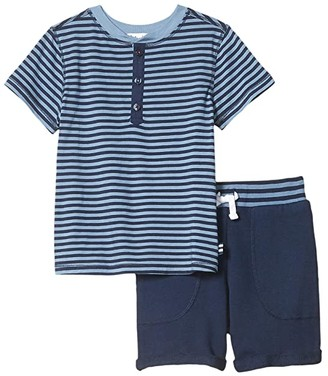 Splendid Littles Yarn-Dye Stripe Henley Tee Set (Toddler/Little Kids/Big Kids) (Blue Shadow) Boy's Active Sets
