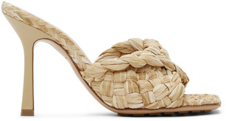 Bottega Veneta Beige Raffia Stretch Heeled Mules