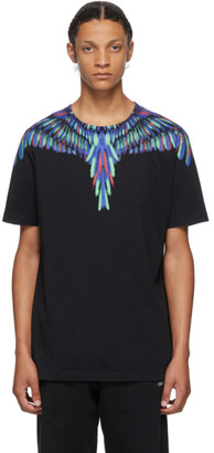 Marcelo Burlon County of Milan Black and Multicolor Chalk Wings T-Shirt