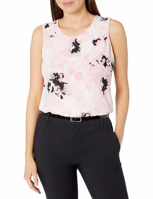 Kasper Women's Blurred Floral Printed Knit U Neck Tank TOP