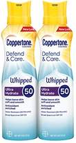 Coppertone Defend & Care Ultra Hydrate Sunscreen Whipped Lotion SPF 50, 5 Ounce Pack of 2