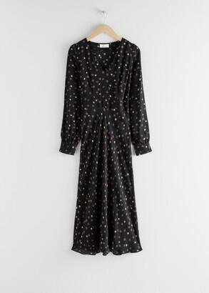 And other stories Floral V-Cut Midi Dress