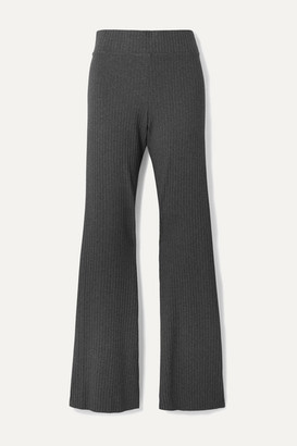 CALÉ Angelique Ribbed Stretch-jersey Flared Pants - Dark gray