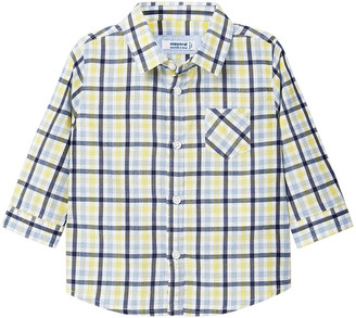 Mayoral Boy's Windowpane Check Button Up Shirt, Size 6-36 Months