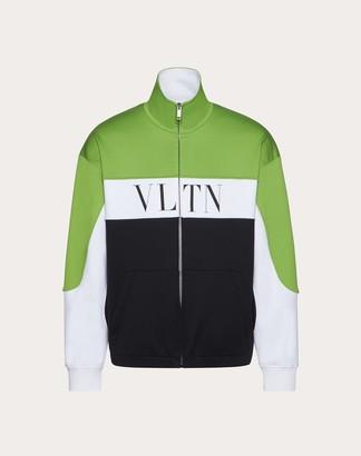 Valentino Jelly Block Print Sweatshirt Man Black/neon Green Cotton 44% M