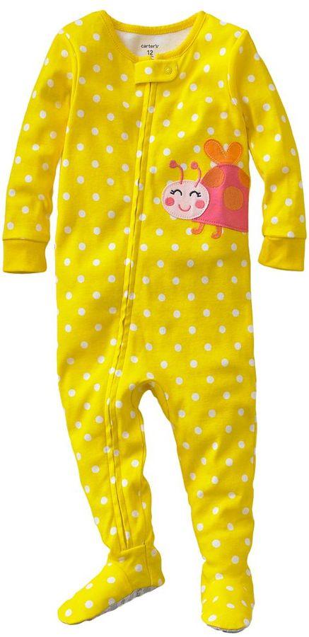 Carter's polka-dot ladybug footed pajamas - baby