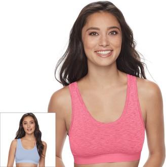 Fruit of the Loom Women's Signature Bras: Ultra Flex 2-pack Crop Top Low-Impact Sports Bra 2DDFBRA